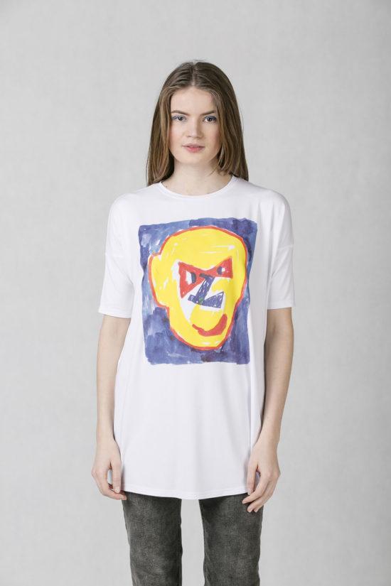 Oneday dámské oversized tričko bílé v prodloužené délce z příjemného  viskózového úpletu s barevným potiskem z 85f286fe79