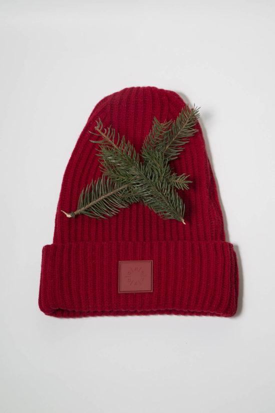 oneday hrubě pletená unisex vlněná čepice červená d2b97e8881