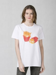 oneday pánské oversized tričko s krátkým rukávem s barevným potiskem z  bavlněného upletu bíle e32e9604d5