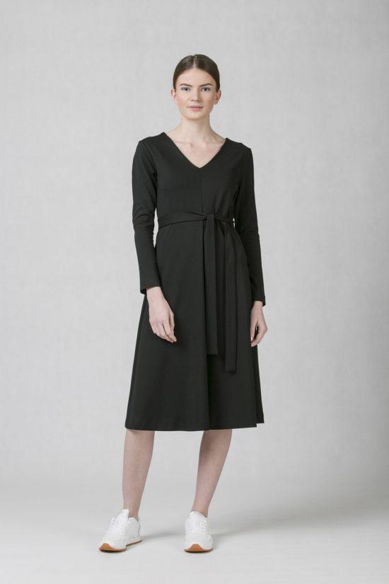 4f298d846da0 oneday společenské ačkové šaty s dlouhým rukávem s decentním V výstřihem a  vázačkou která výrazní pas