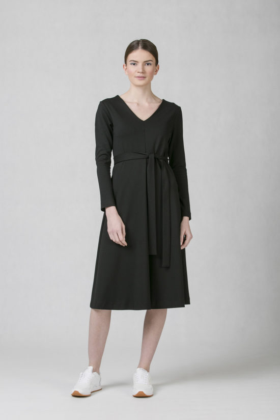ONEDAY round V-neck dress blue black 0b24f310d1