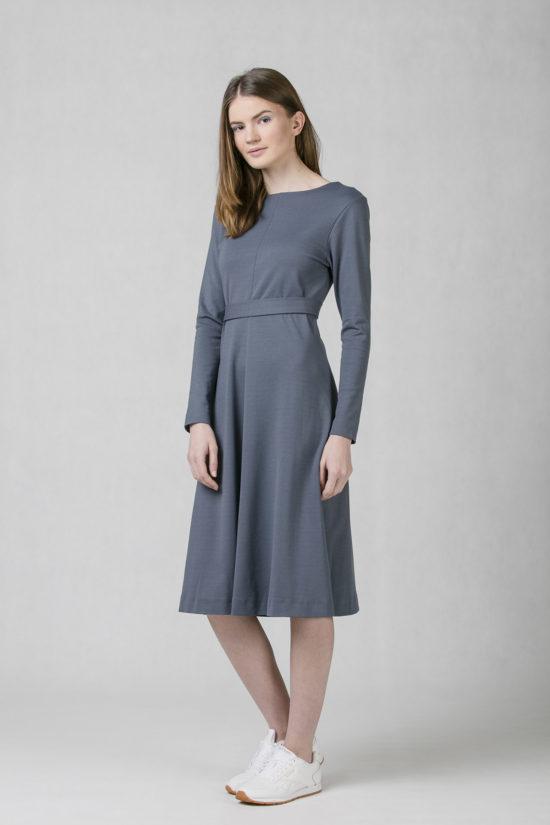 ONEDAY round V-neck dress blue grey 6a19b4caa3