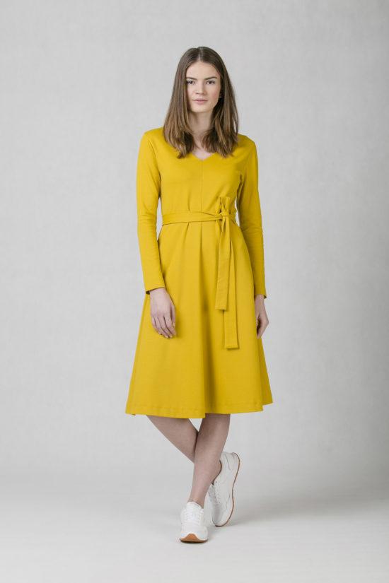ONEDAY round V-neck dress ochre ec0a743027