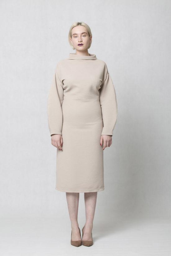 oneday úzké šaty s balónovými rukávy z žebrovaného úpletu béžové 986f537d6f