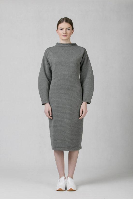 oneday úzké šaty s balónovými rukávy z žebrovaného úpletu šedé 2e429b3e93