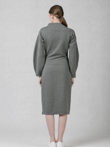 oneday úzké šaty s balónovými rukávy z žebrovaného úpletu šedé 1c331ad153