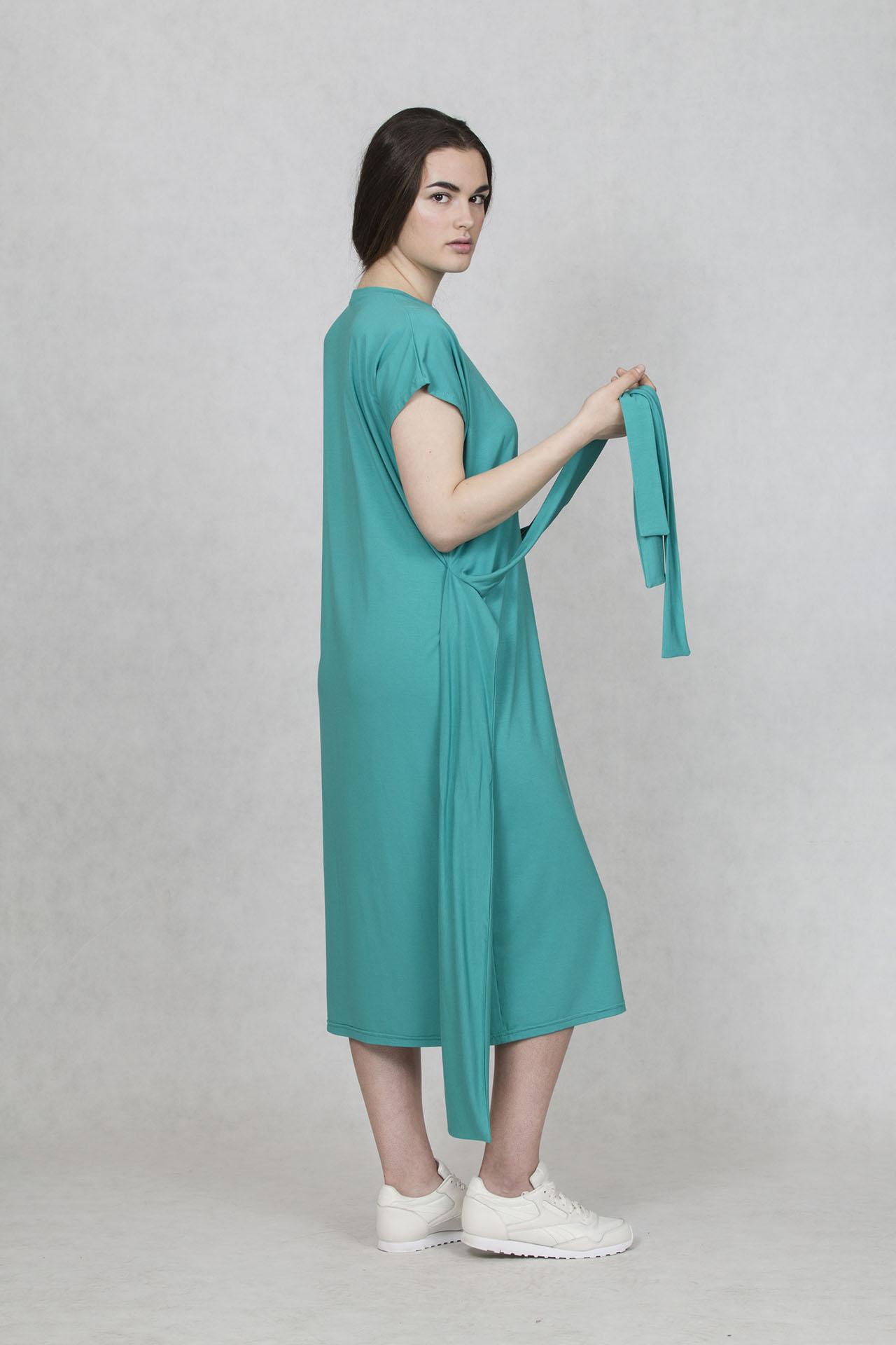 fd5b9f7fc685 Šaty na jaro s krátkým rukávem a vázáním Oneday v zelené