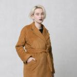 Zimní kabát z vlněné směsi rezavý
