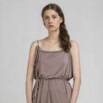 Shoulder water dress cappucino